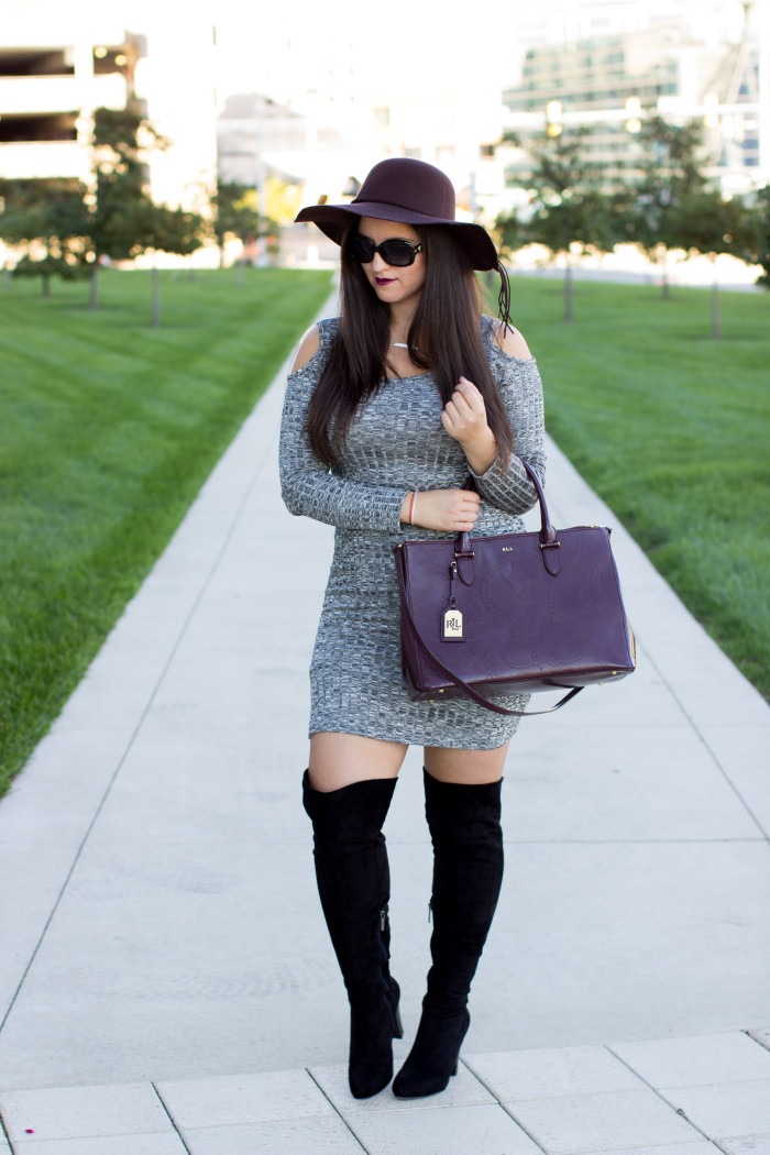 fall outfit, fall dress with boots, knee high boots and skirt, hat,