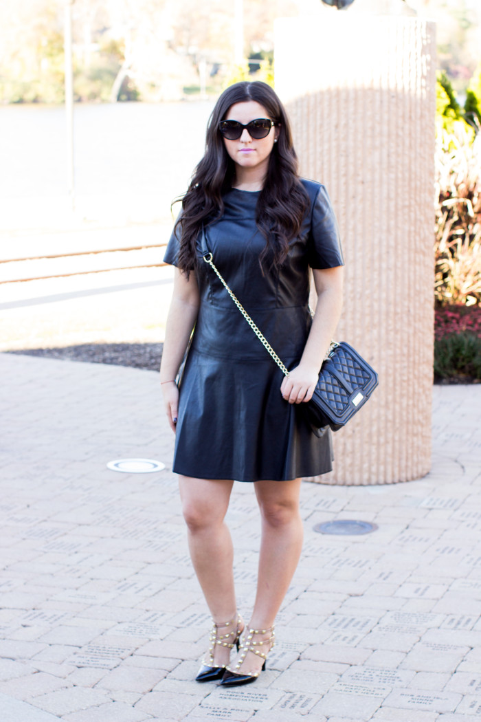 Black Leather Dress Baily Lamb
