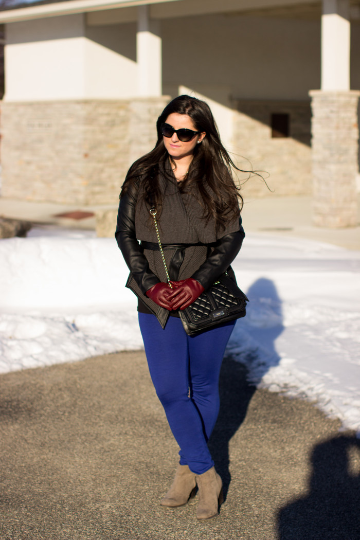 flyaway moto jacket, simply vera wang fashion, kohls jacket, winter sale, street style, fashion blogger, blue pants, suede booties