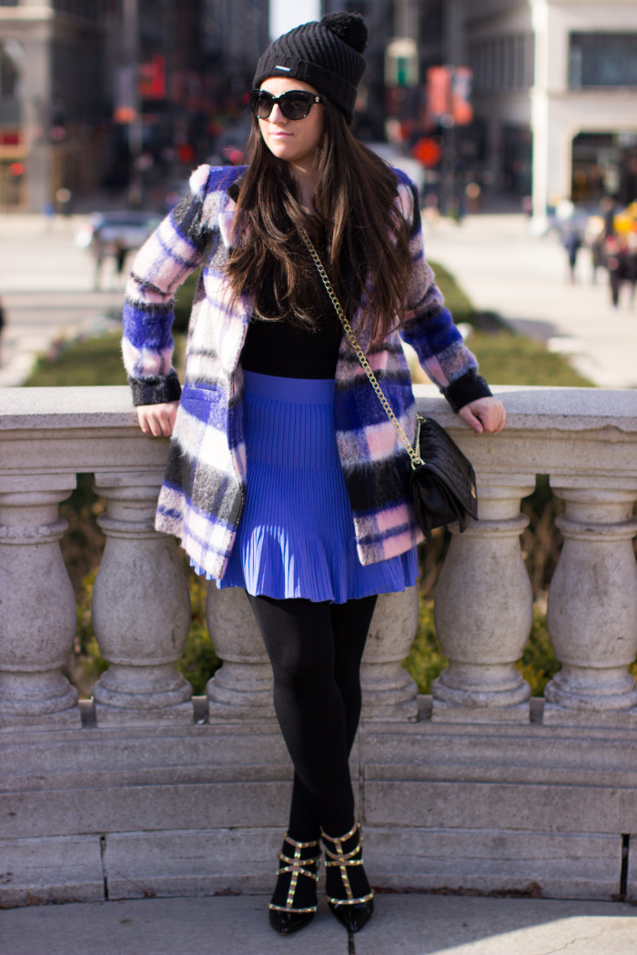 how to wear a mini skirt in winter, purple mini skirt, kohls fashion, bcbg handbag, bcbg rockstud pumps