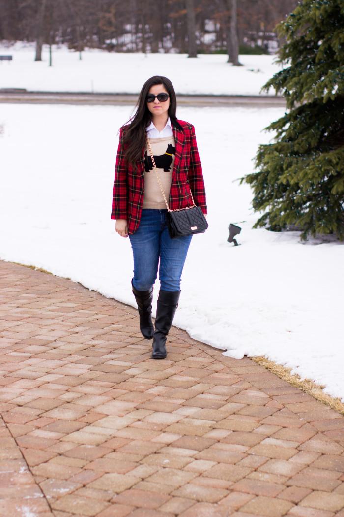 plaid blazer, winter outfit idea, preppy outfit, Tommy Hilfiger boots, plaid, winter fashion, Christmas fashion, classic blazer