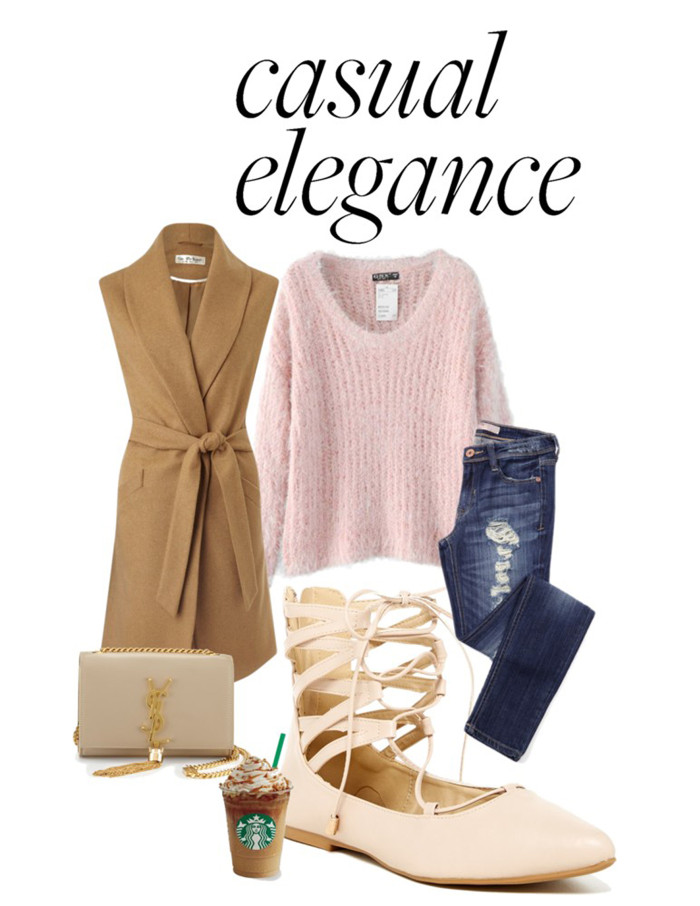 casual elegance, distressed jeans, distressed denim, sleeveless coat, pink sweater top, lace up womens shoes, lace up flats, ysl handbag, ysl