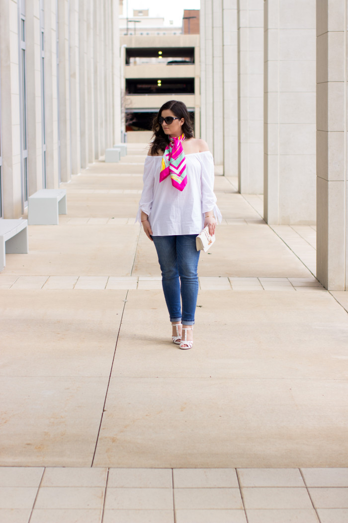 off the shoulder trend, white off the shoulder top. jcpenny womens fashion, Gucci, Gucci shoes, bcbg, womens jeans, colorful satin scarf