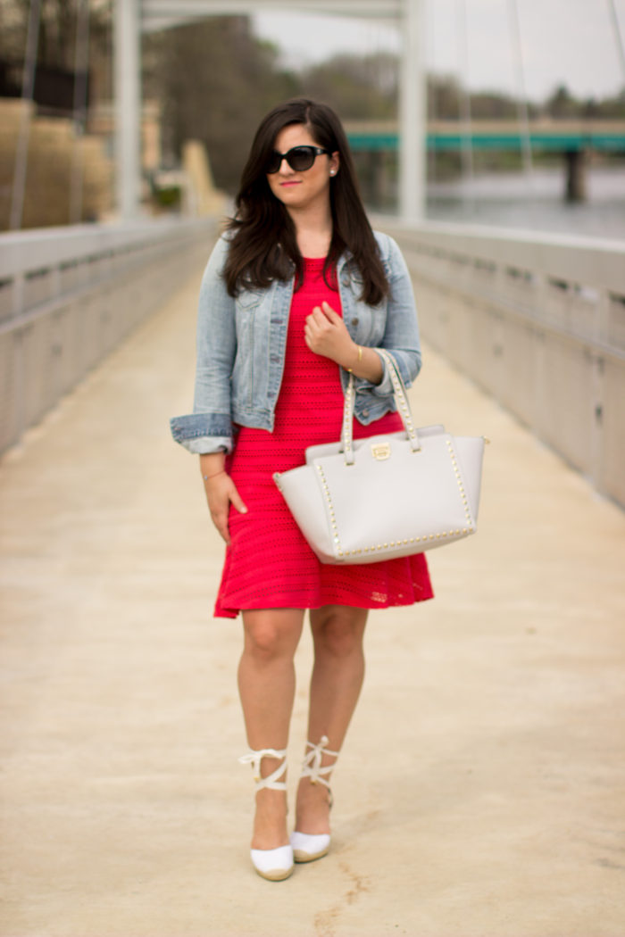 casual in red & denim, red dress, anne taylor loft summer dresses, lace up sandals, denim jacket, casual summer dress look