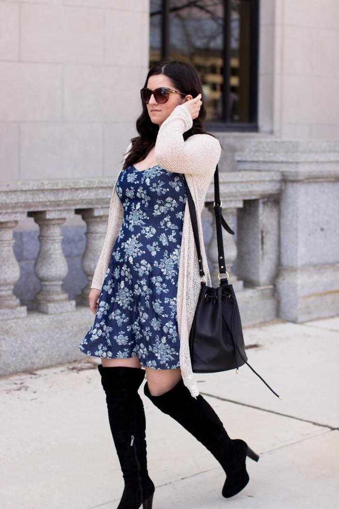 floral dress, jc penny summer dress, blue flower dress, denim womens dress, dress and boots,