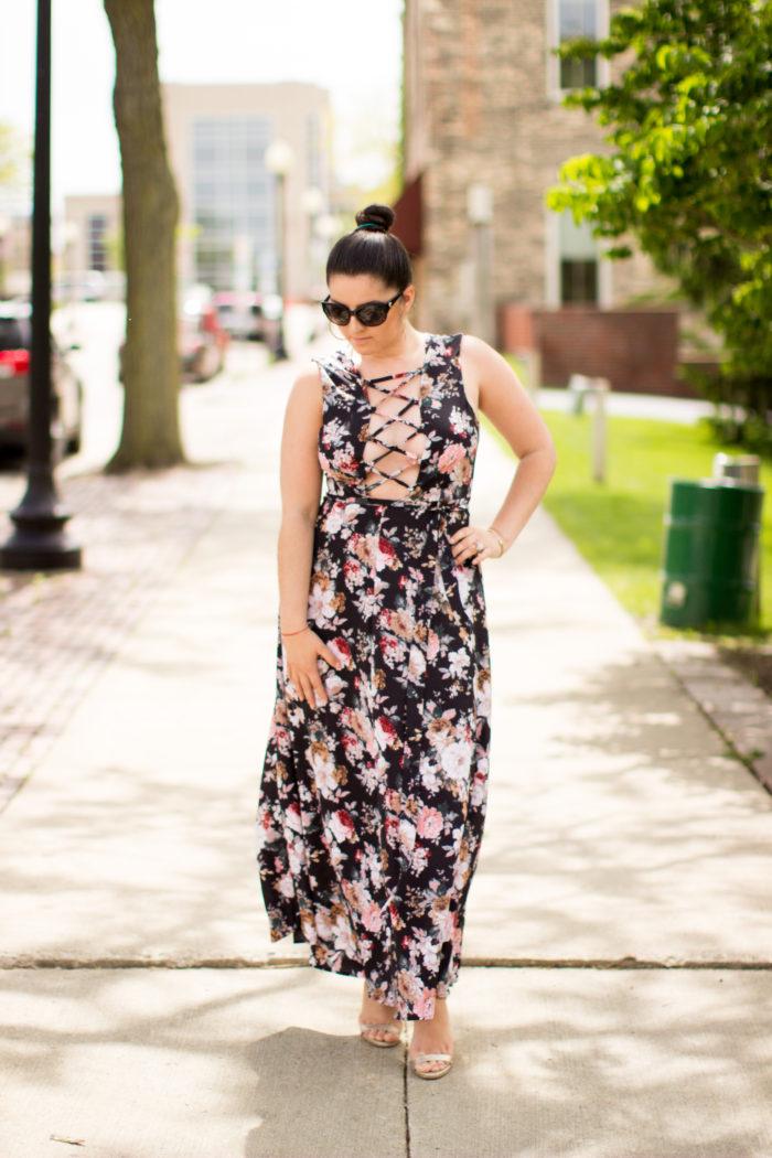 floral dress, summer dress, maxi floral dress, shein fashion, shein dress, boho chic dress