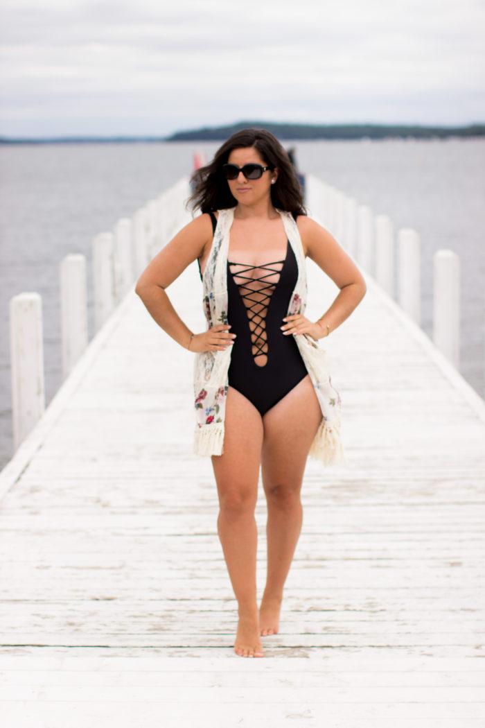 ami clubwear swimsuit review, black one piece swimsuit, crisscross swimsuit, womens swimwear, beach look, fun swimwear, stylish swimwear