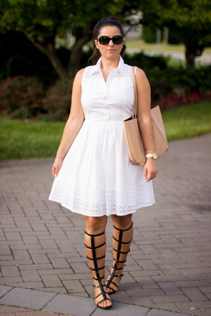 gladiator sandals, white tennis dress, white eyelet dress, fit and flare dress, shirt dress, white shirt dress, bcbg beige tote