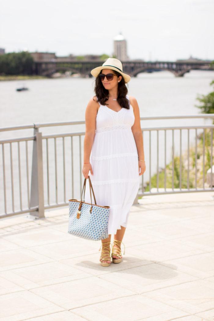 ysl gold gladiator sandals, ysl shoes, ysl sandals, linen white dress, ralph lauren beach tote, straw hat, beach outfit idea