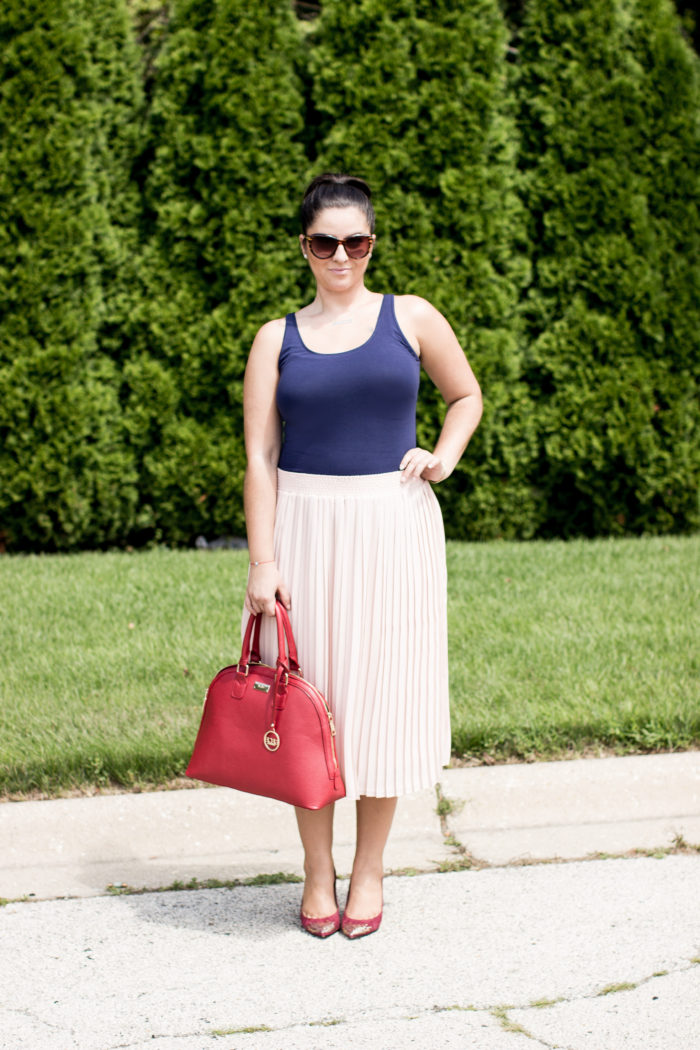 how to wear a pleated skirt, pink pleated skirt, target skirt, blue fitted sleeveless top, church attire, what to wear to brunch, work attire.