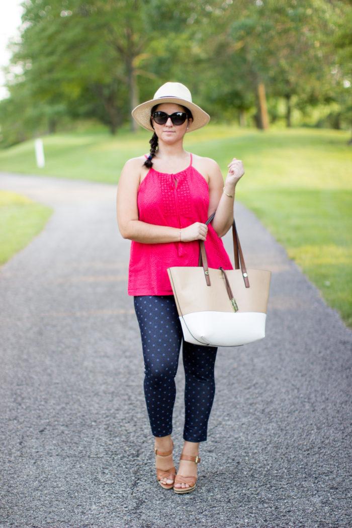 no nonsense, leggings review, cropped legging, what to wear for a bbq, polka dots leggings, blue denim leggings, straw hat, red top, calvin klein tote