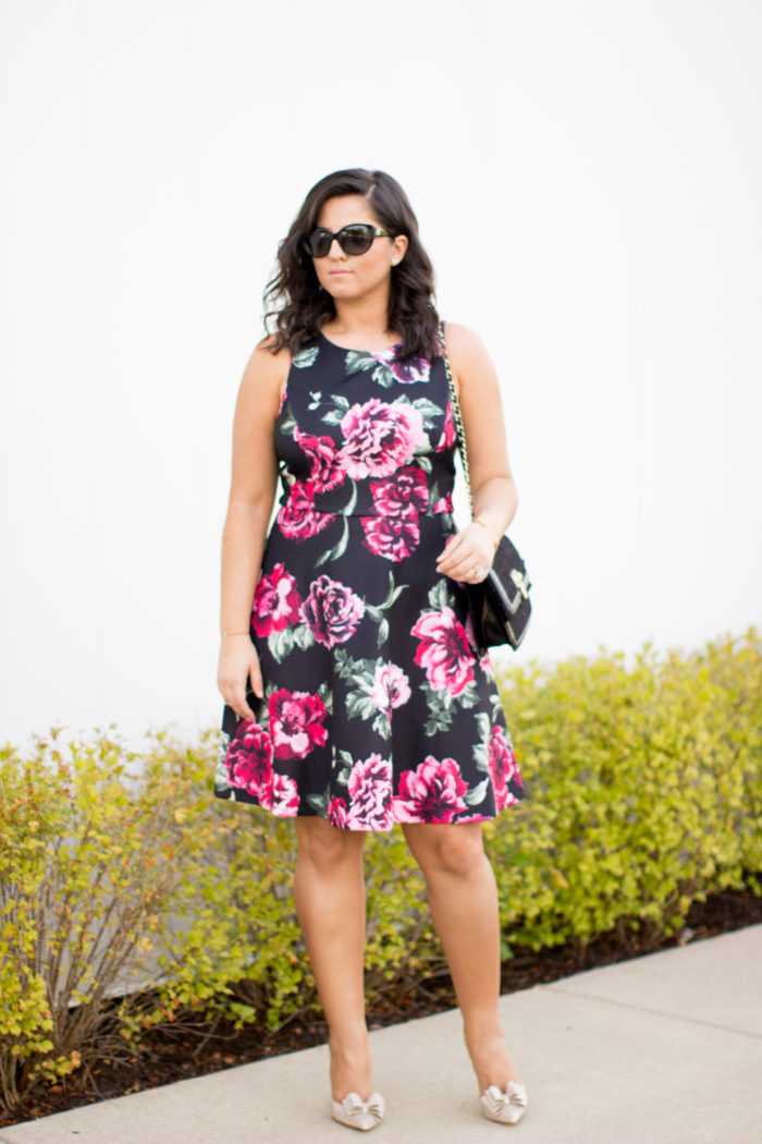 Wedding guest dress baily lamb for Black floral dress to a wedding