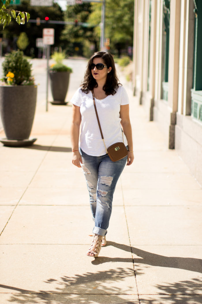 best casual jeans, ripped jeans, light wash jeans, cropped jeans, white t-shirt, michael kros crossbody, suede wedges, target shoes, ;ace up wedges