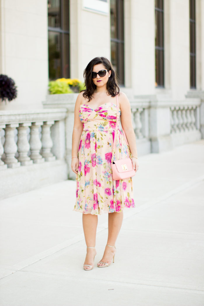 floral chiffon dress, wedding guest dress, wedding guest attire, pink floral dress, strapless pink chiffon dress, gold sandals, pink tommy hilfiger crossbody