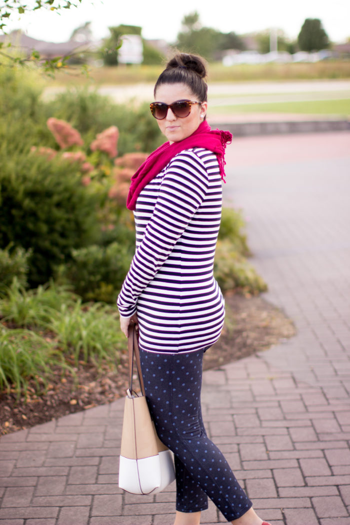 leggings for everyday, denim leggings, polka dots leggings, red scarf, bass plaid shoes, calvin klein tote