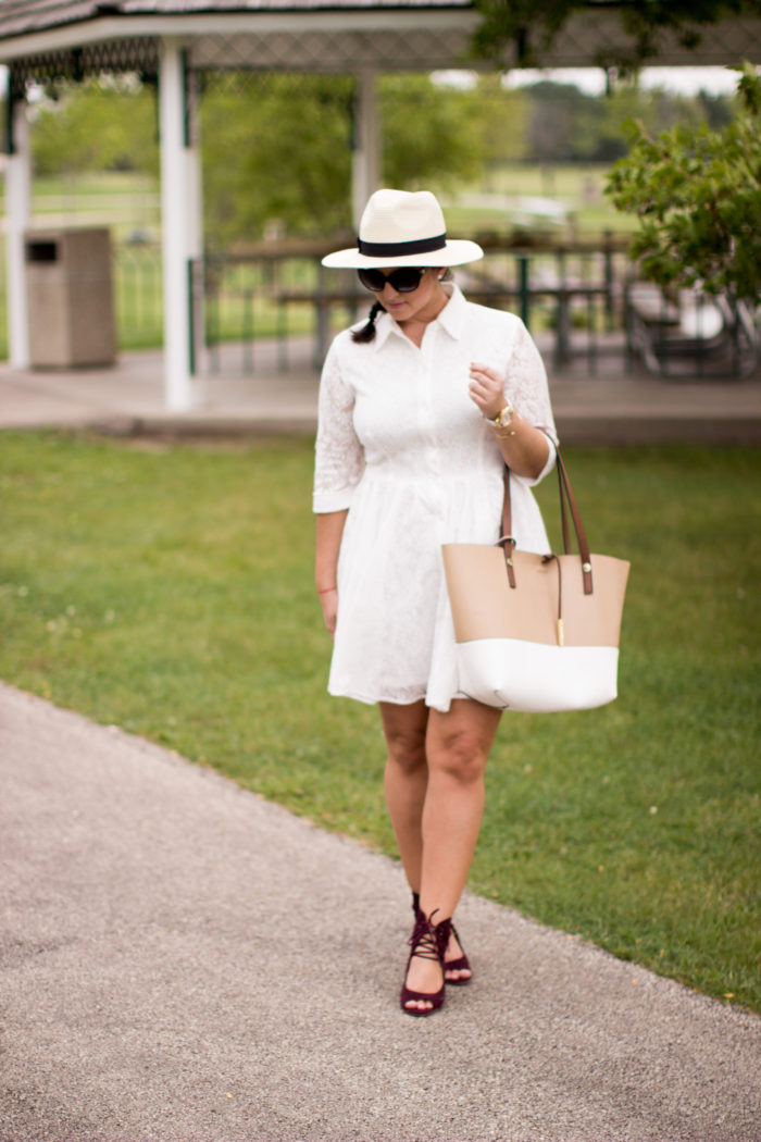 perfect picnic outfit, white lace shirtdress, burgundy wedges, calvin klein tote, straw hat, casual chic, preppy dress, classy dress, white lac