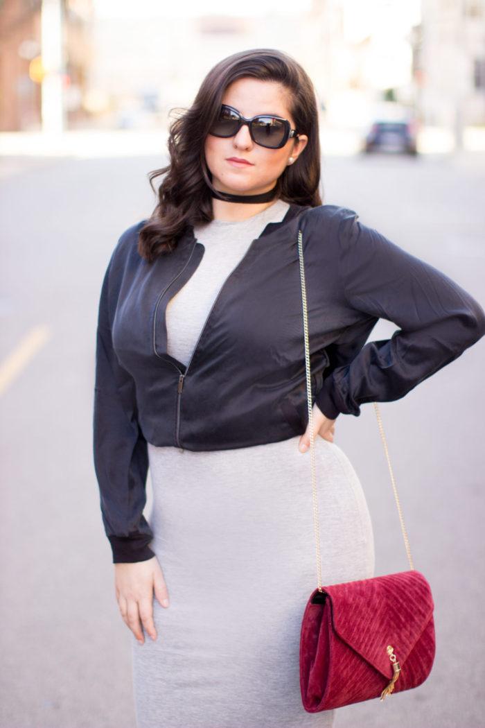 jacket, black bomber jacket, bodycon dress, cake lace up heels, red velvet crossbody handbag
