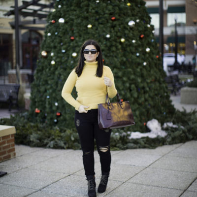 casual winter outfit with a yellow sweater