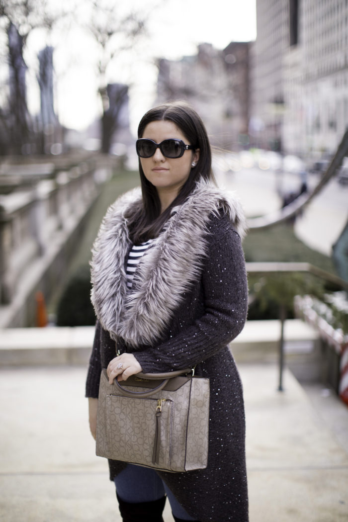 faux fur cardigan, over the knee boots, casual winter outfit, calvin klein satchel
