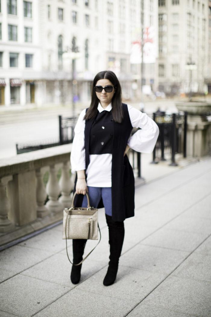 bell sleeve top, over the knee boots, black vest, jeggings, calvin klein handbag