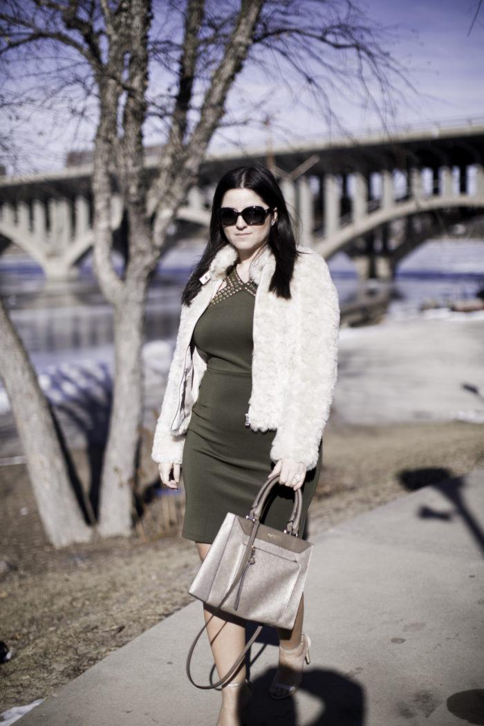 date night dress, green rockstud dress, bodycon dress, faux fur coat, calvin klein satchel