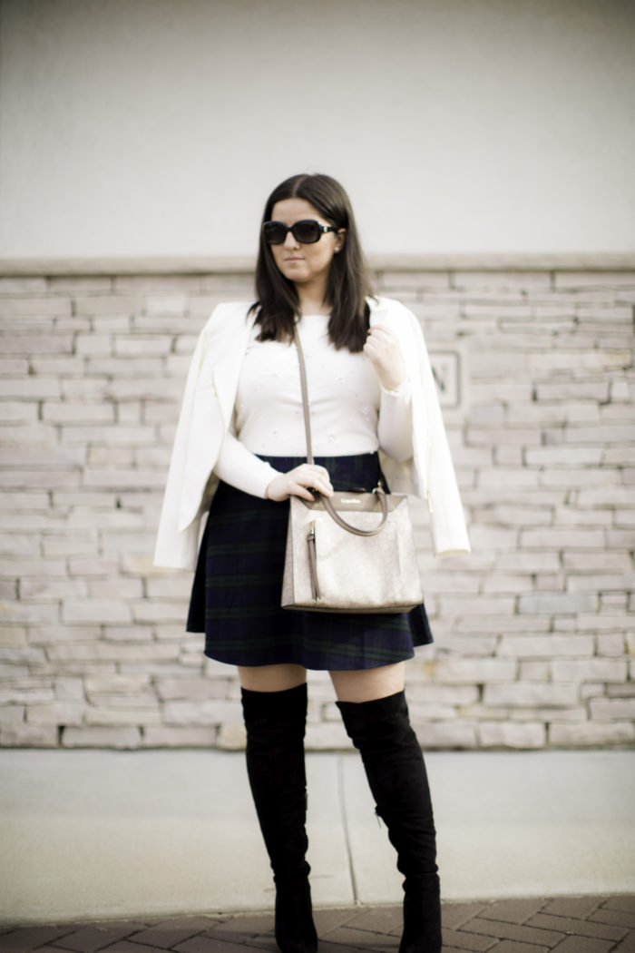 plaid mini skirt, overt the knee boots, mini plaid skirt, white blazer, winter outfit idea