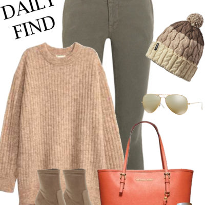 he daily find, casual outfit inspiration, ankle boots, h&m sweater, michael kors orange tote