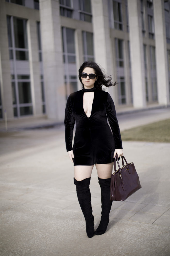 how to wear velvet at any age, trend at any age, black velvet jumpsuit, over the knee boots