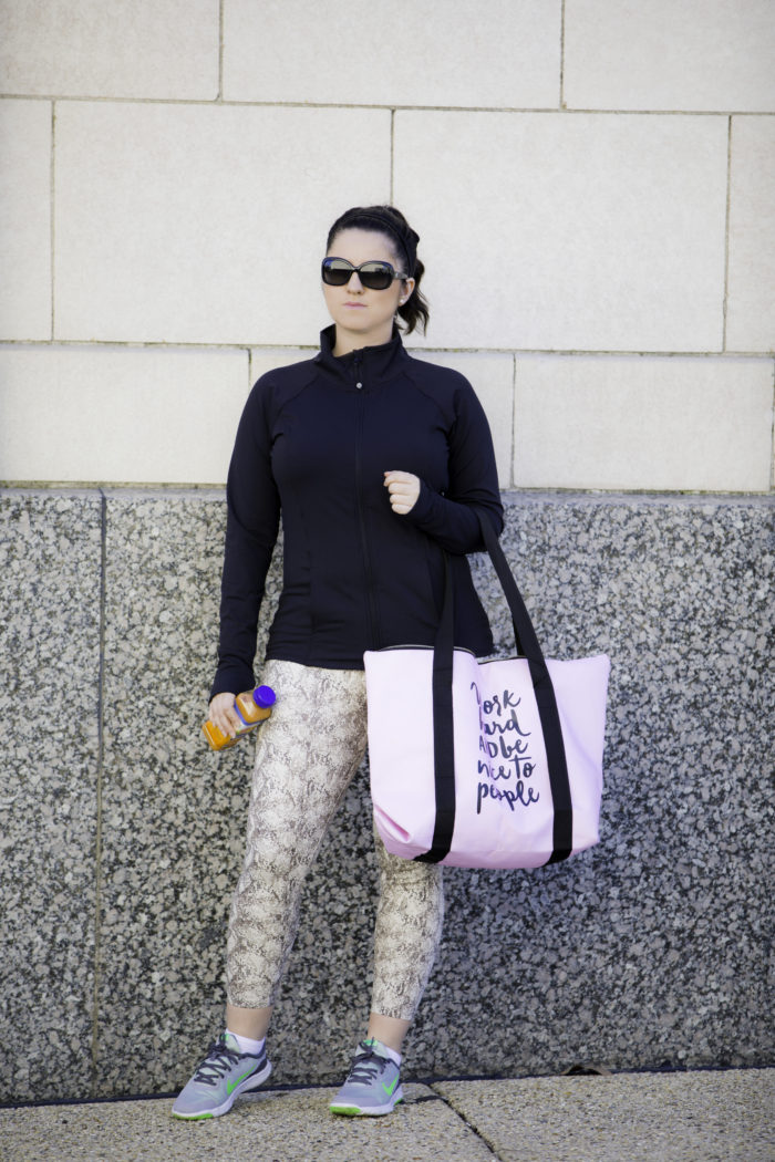 work hard pink gym bag, gym outfit, workout outfit idea, cute workout clothes, cute gym bag,