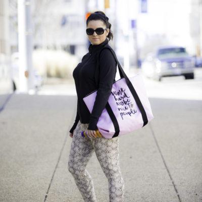 Work hard pink gym bag