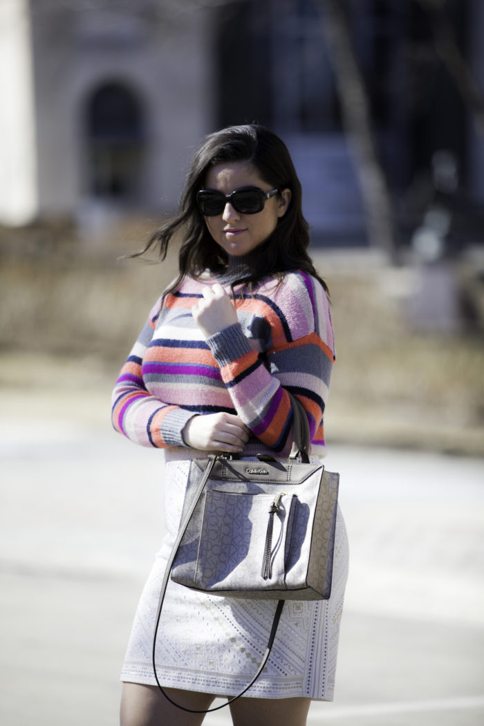 styling a pinks striped sweater, chaps sweater, kohls womens sweater, whitehouse black market skirt,juicy couture boots,calvin klein handbag