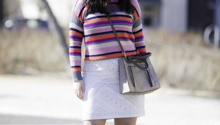 styling a pink striped sweater