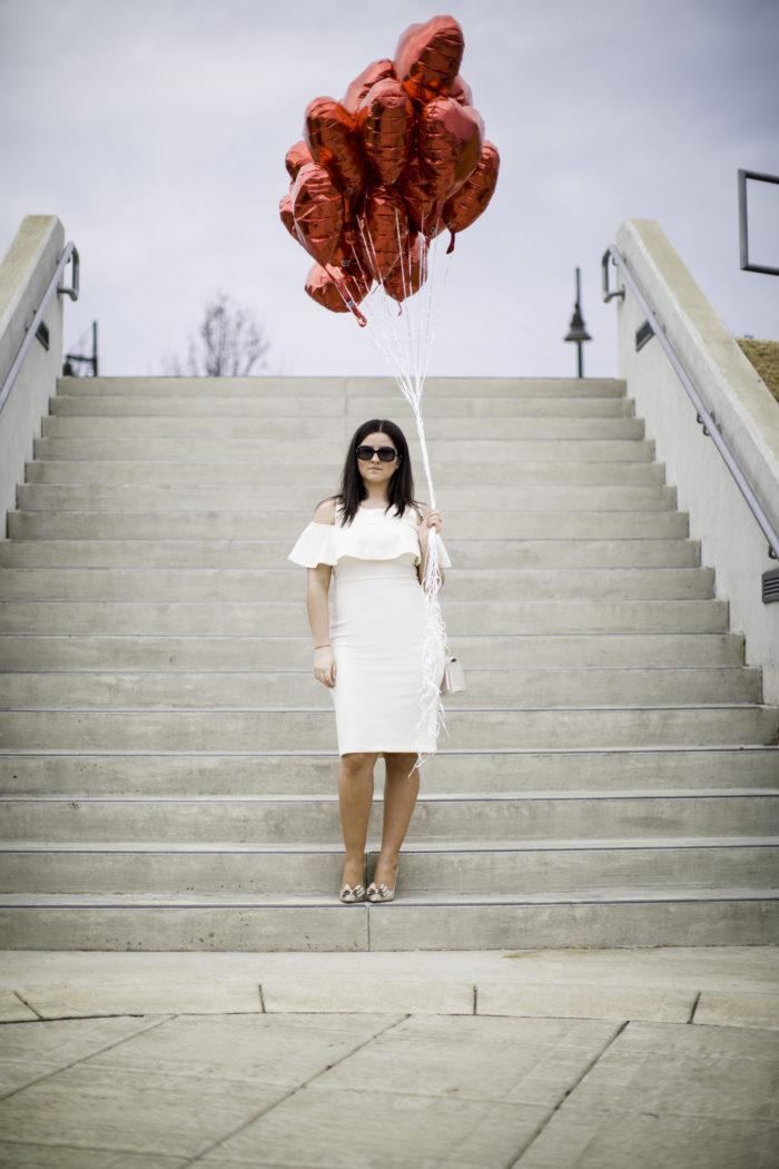 valentine's day, valentine's day dress, heart baloons