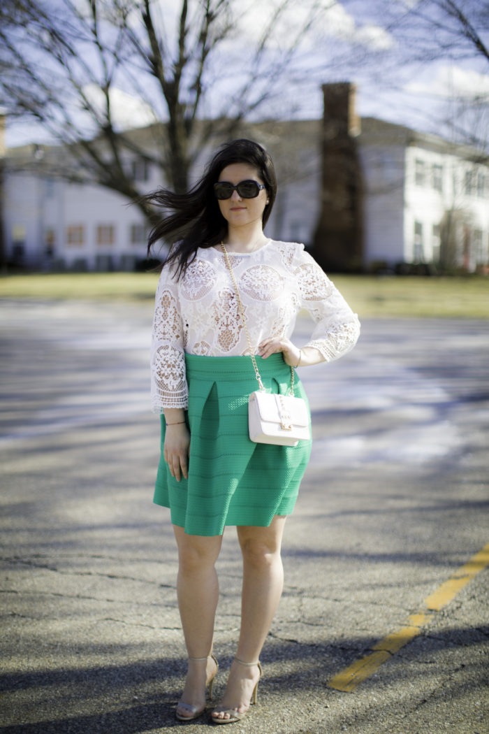 pantone color of the year, baily lamb fashion, green skirt, lace bell sleeve top