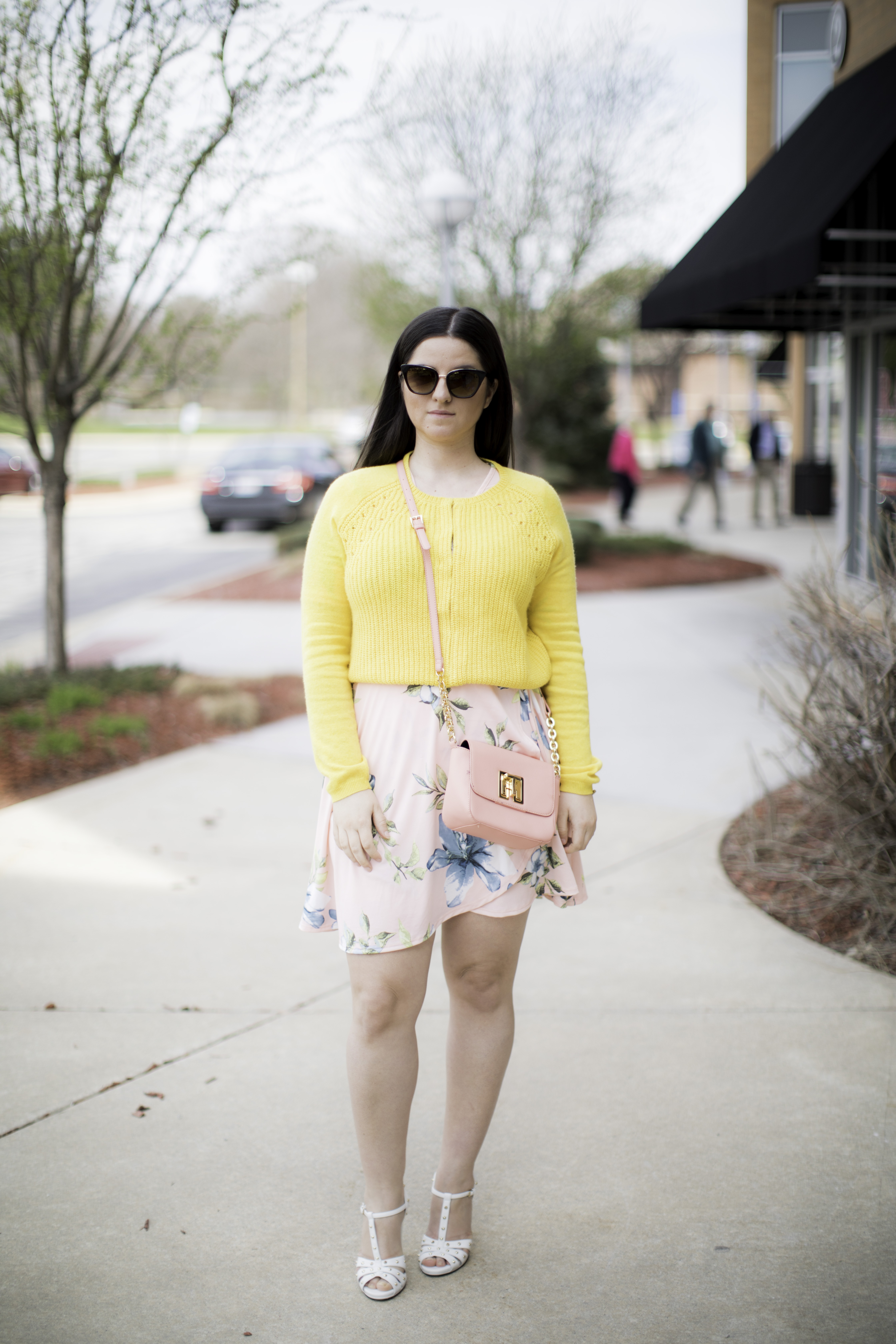 colorful spring outfit idea,yellow sweater, pink floral dress, gucci shoes chicago blogger, bailylamb, rockford blogger,