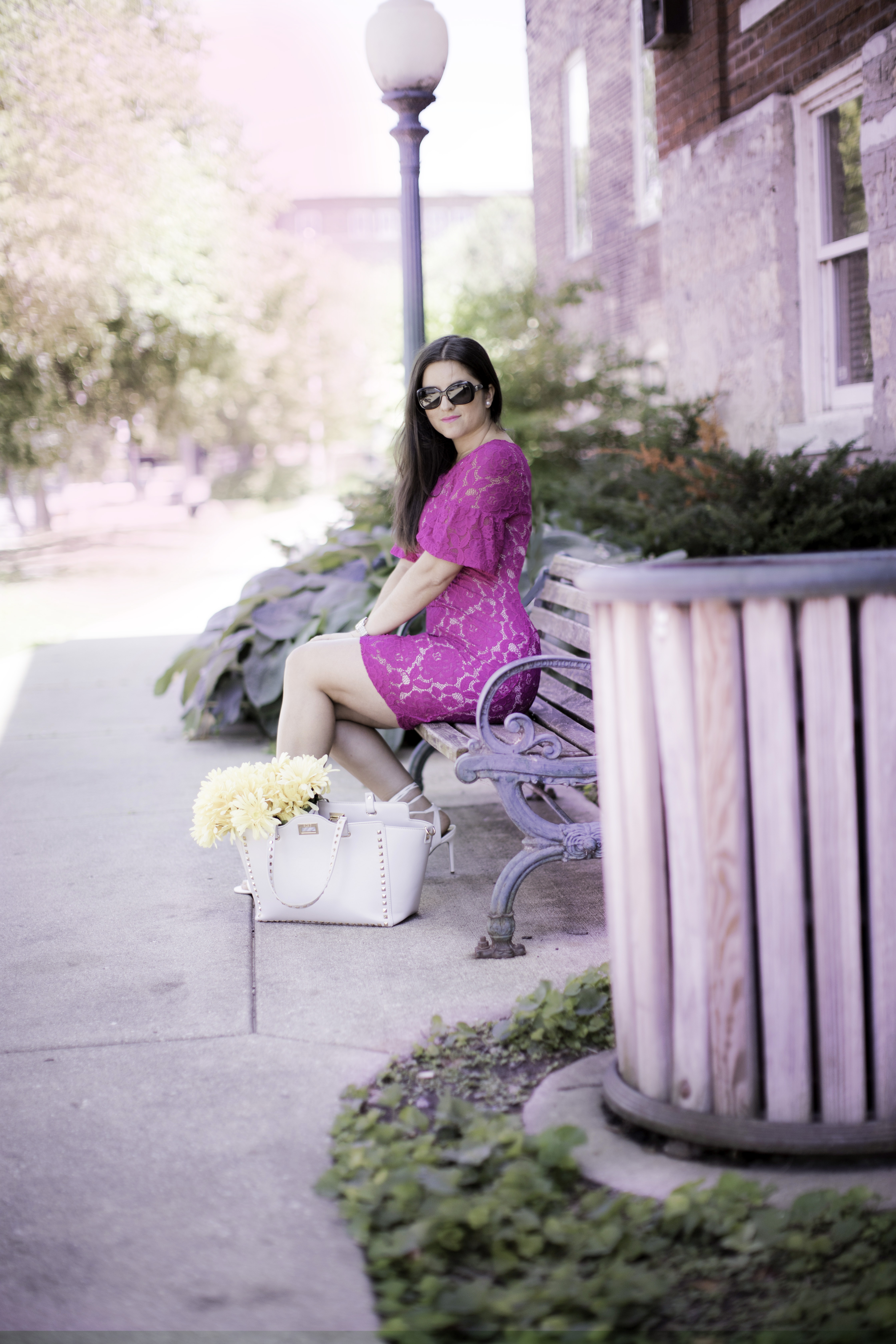lace bell sleeve dress, pink lace dress, white wrap sandals, rockstud satchel, baily lamb, chicago blogger