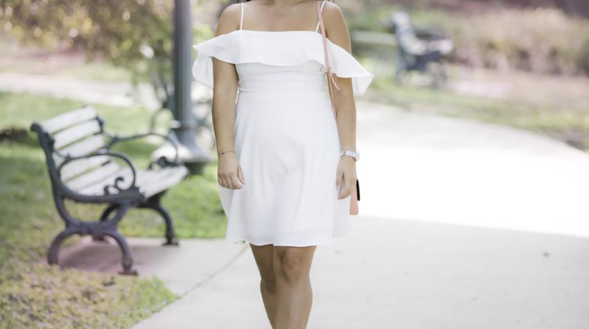 must have summer dress , white cold shoulder dress, forever21 dress, chicago blogger, baily lamb