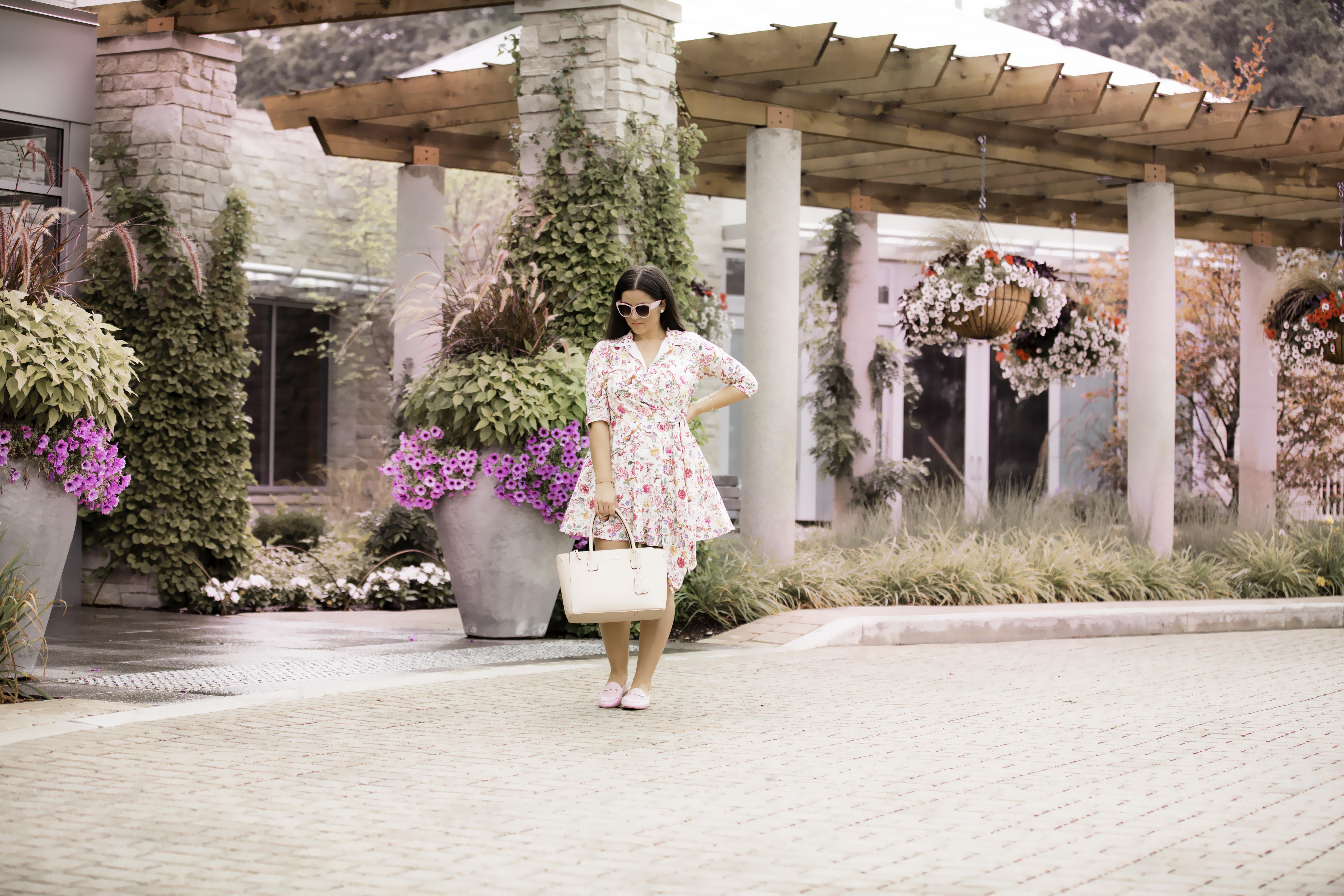 floral faux wrap dress, custom dress design, eshakti custom floral dress, pink sam edelman loafers