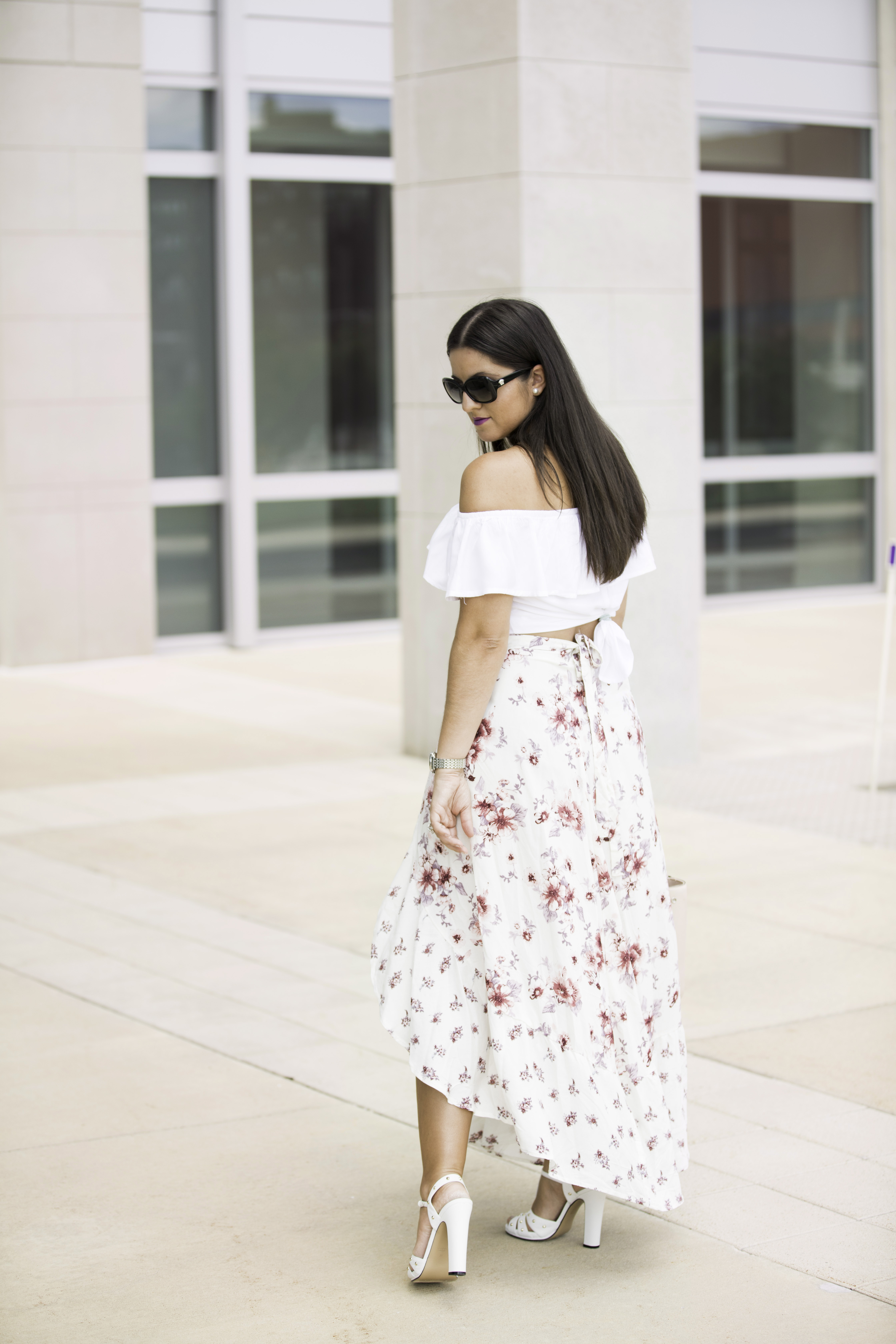 floral wrap skirt, burlington womens fashion, off the shoulder ruffle top, kenneth cole pink satchel