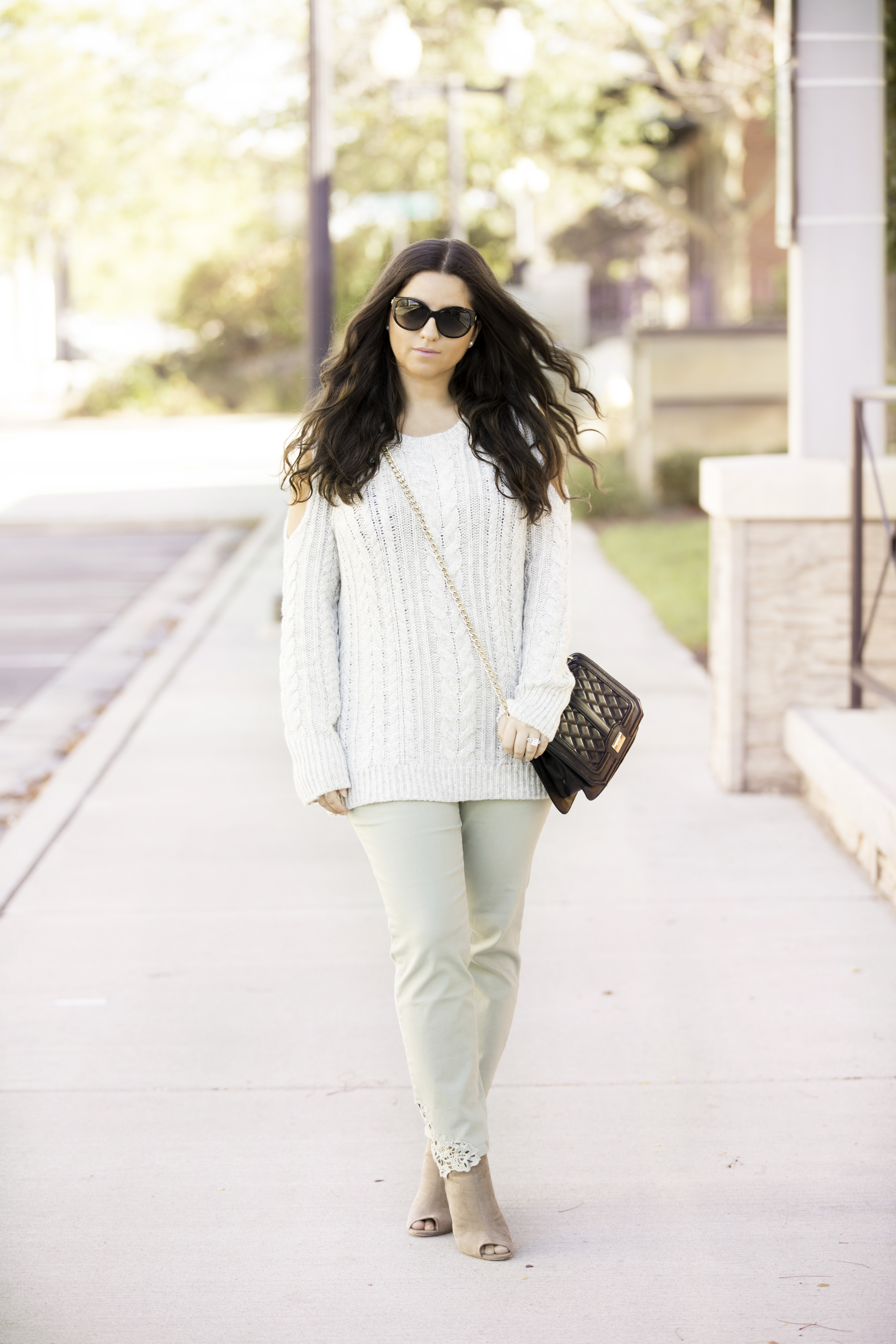 must have fall fashion from soft surroundings, green pants outfit idea, gray sweater outfit idea, chicago blogger, baily lamb