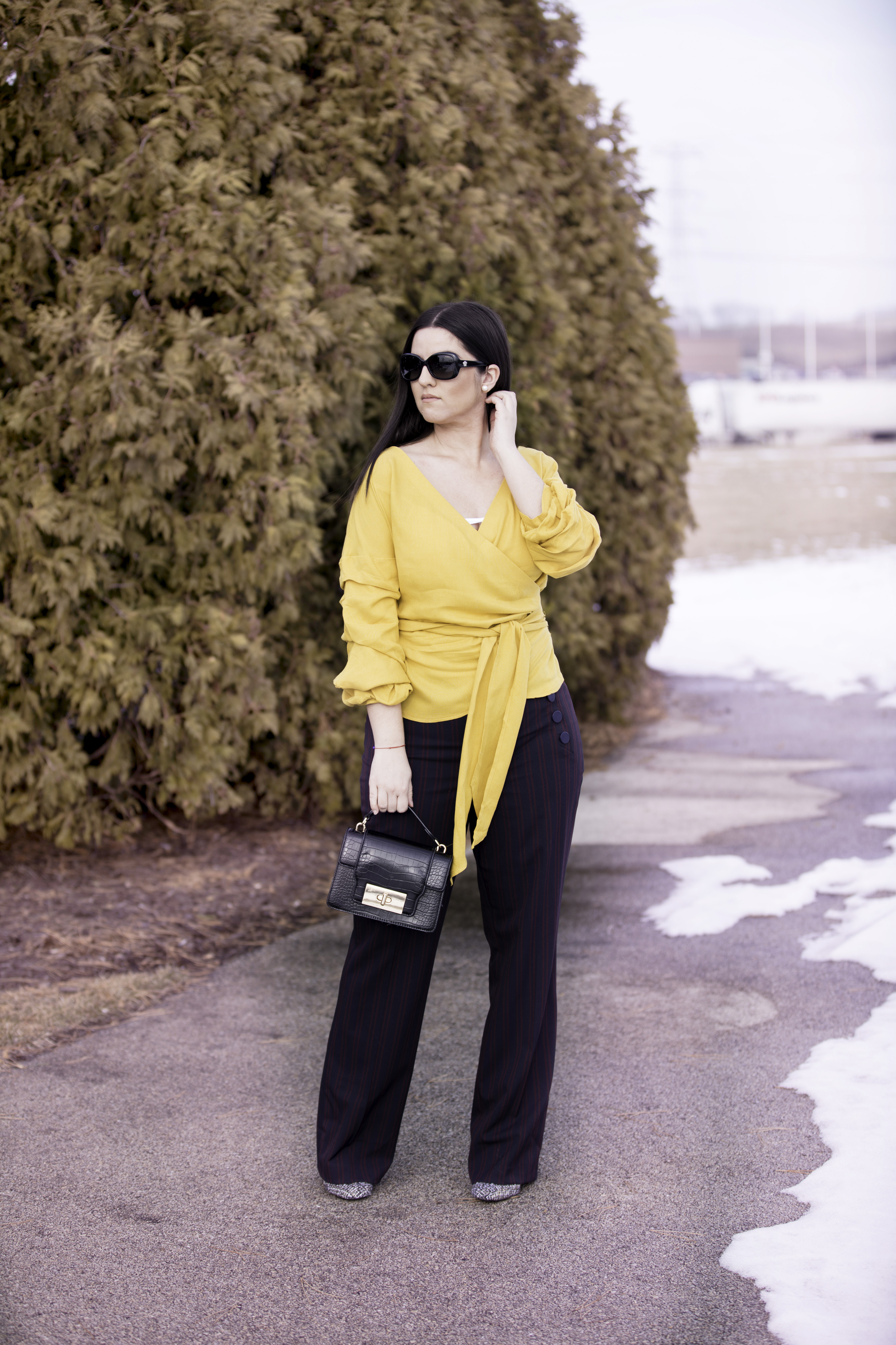 current favorite trend, bell sleeve tops, wrap tops, loft wide leg pants, baily lamb